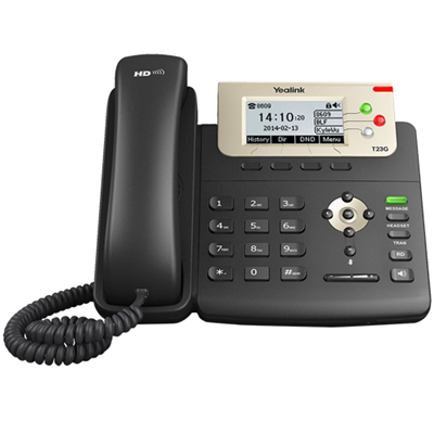 Yealink T23GN VoIP/SIP Phone (SIP-T23), 3-Lines, 2 x Gigabit Ports, PoE, Greyscale LCD Display Without PSU